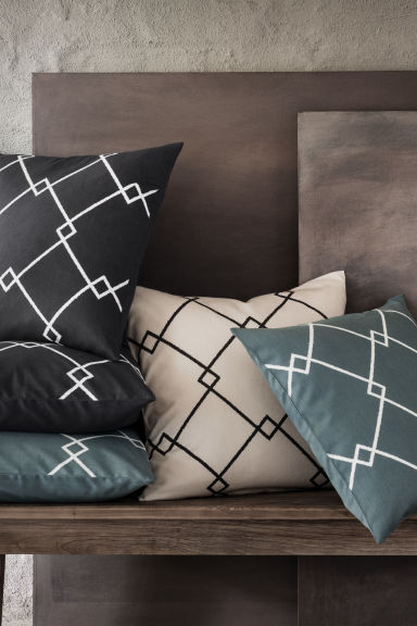 Patterned cushion cover - Grey-blue - Home All | H&M GB