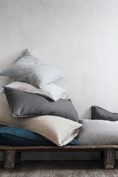 Federa in lino lavato - Grigio scuro - HOME | H&M IT
