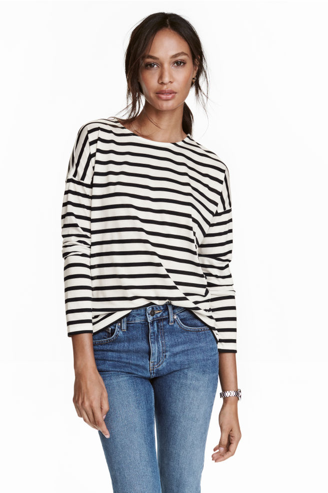 d6c4033d8fc9 Striped jersey top - White Striped - Ladies
