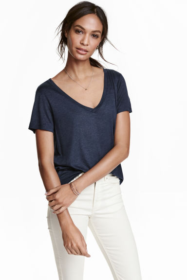 V-neck top - Dark blue marl - Ladies | H&M CN