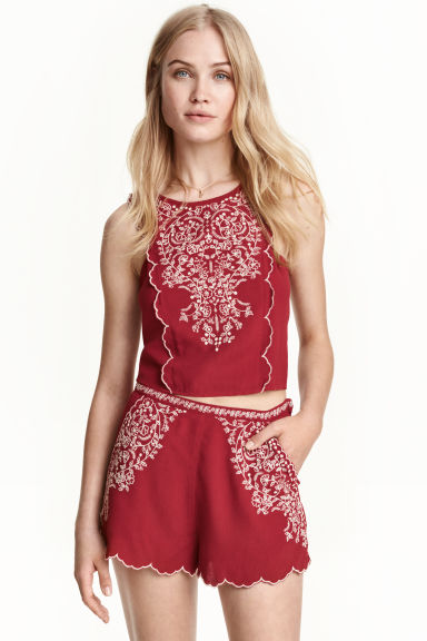 Embroidered blouse - Dark red - Ladies | H&M