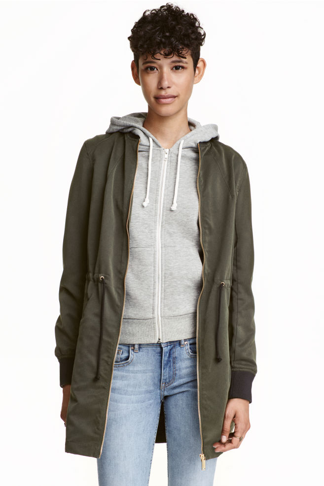 06fea7df1d Long bomber jacket - Khaki green - | H&M ...