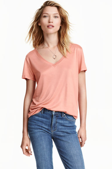 Top con scollo a V - Rosa cipria -  | H&M IT
