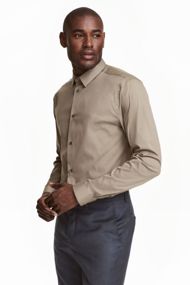Stretch shirt Slim Fit - Mole - Men | H&M