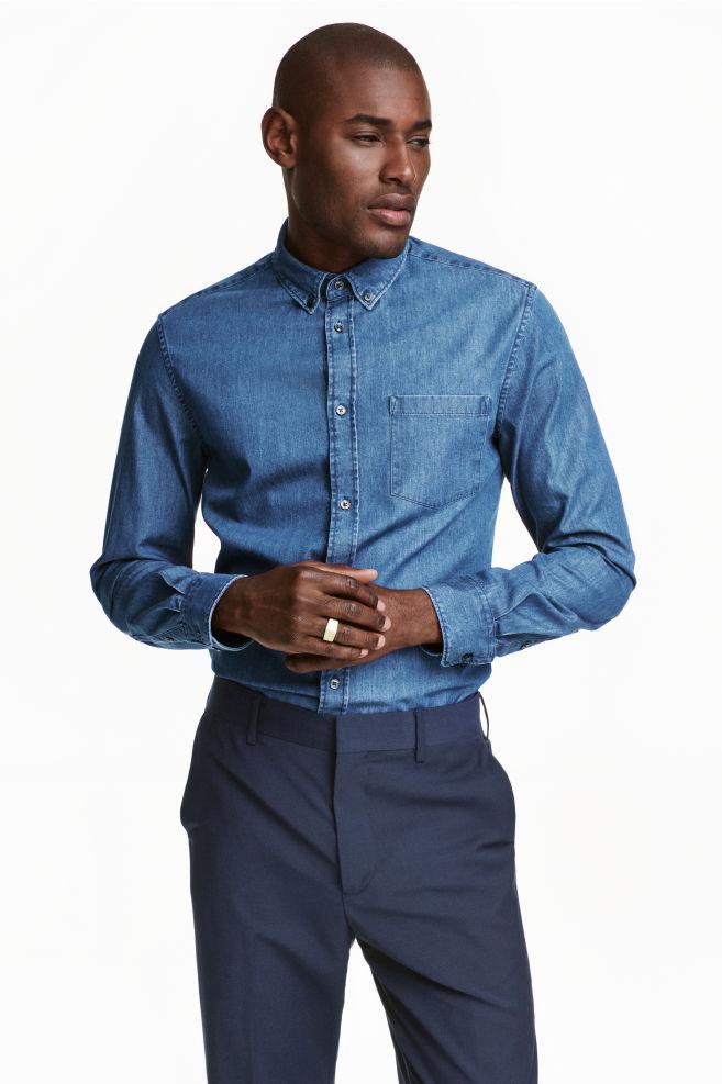 6a82e5e37f1d29 Camicia jeans cotone premium - Blu denim - UOMO   H&M ...
