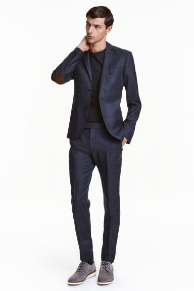 Marled wool suit trousers - Dark blue -  | H&M CN
