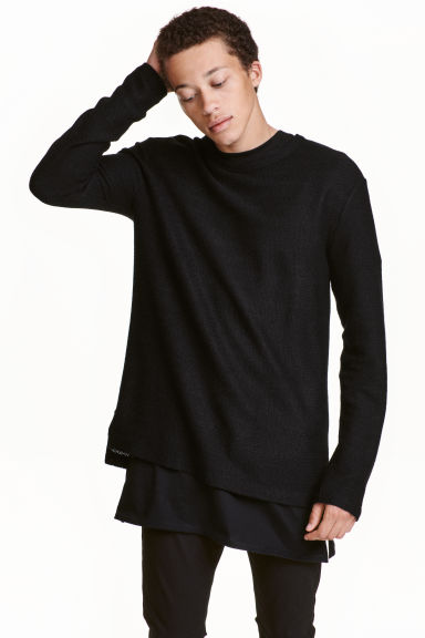 Jacquard-knit jumper - Black -  | H&M