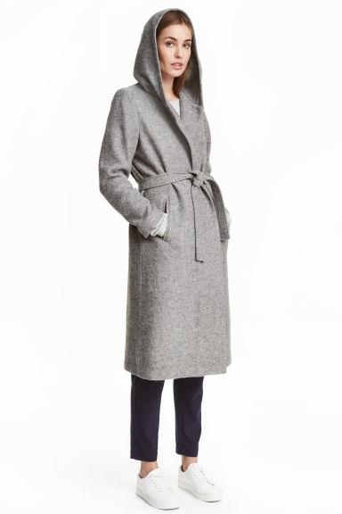 a8e1dd92c7 Gyapjúkeverék kabát kapucnival - Szürke melír - NŐI | H&M HU