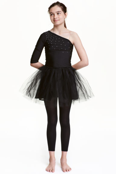 Dance dress with a tulle skirt - Black - Kids | H&M CN