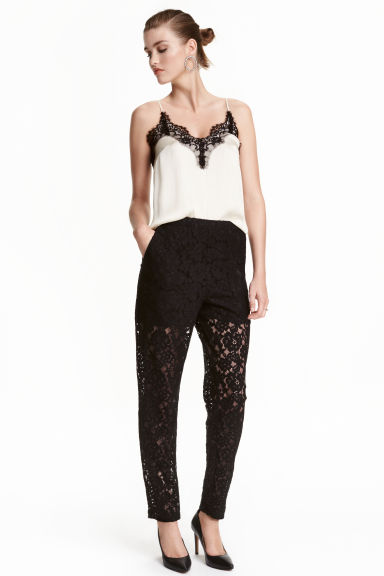 Lace trousers - Black -  | H&M