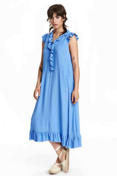 Dress with frills - Blue -  | H&M CN