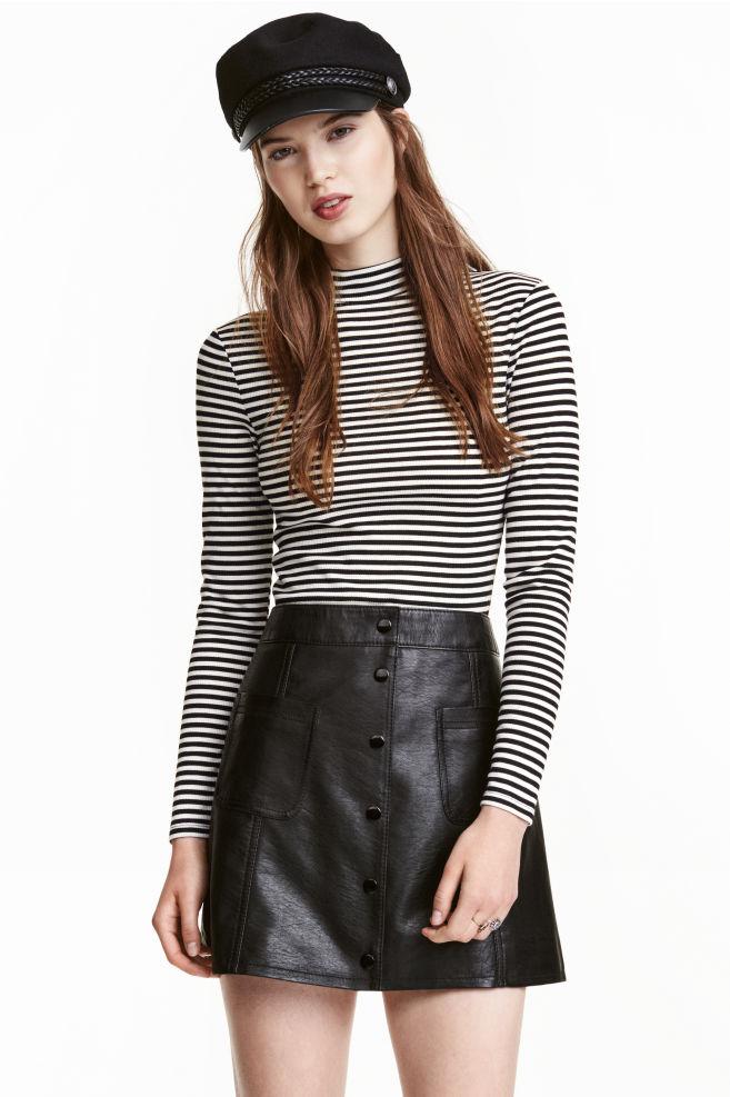 3b09031f00f2f6 Ribbed top - Black/White/Striped - Ladies | H&M ...