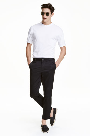 Slim Cropped Chinos - Black -  | H&M IE