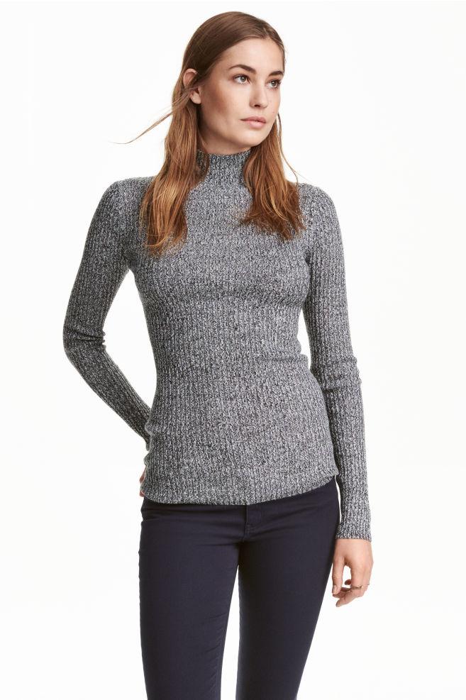 d83fff2197bd25 Ribbed turtleneck jumper - Black/White marl - Ladies | H&M ...
