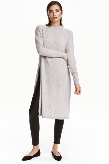 Long cashmere jumper - Light grey marl - Ladies | H&M GB