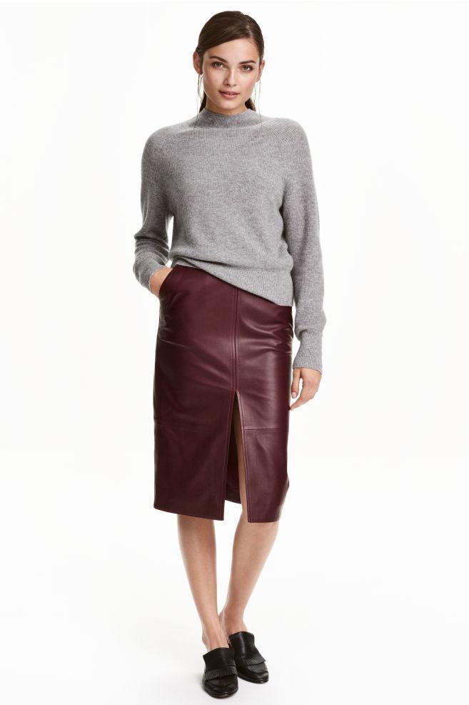 jupe crayon en cuir - bordeaux - femme | h&m fr