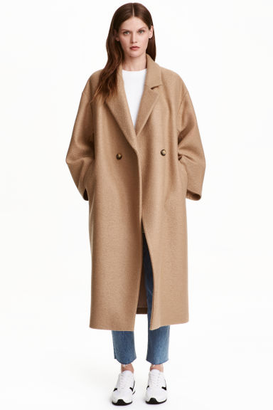 Oversized wool coat - Beige - Ladies | H&M GB
