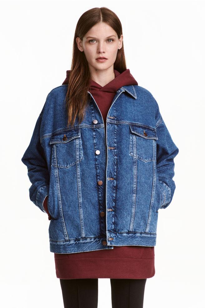 ecc45d854a715 Oversized denim jacket - Dark denim blue - Ladies | H&M ...