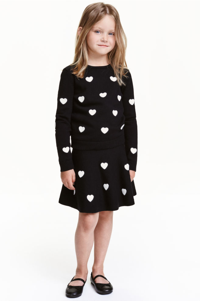 b496193bb4 Knitted skirt with embroidery - Black/Heart - Kids   H&M ...