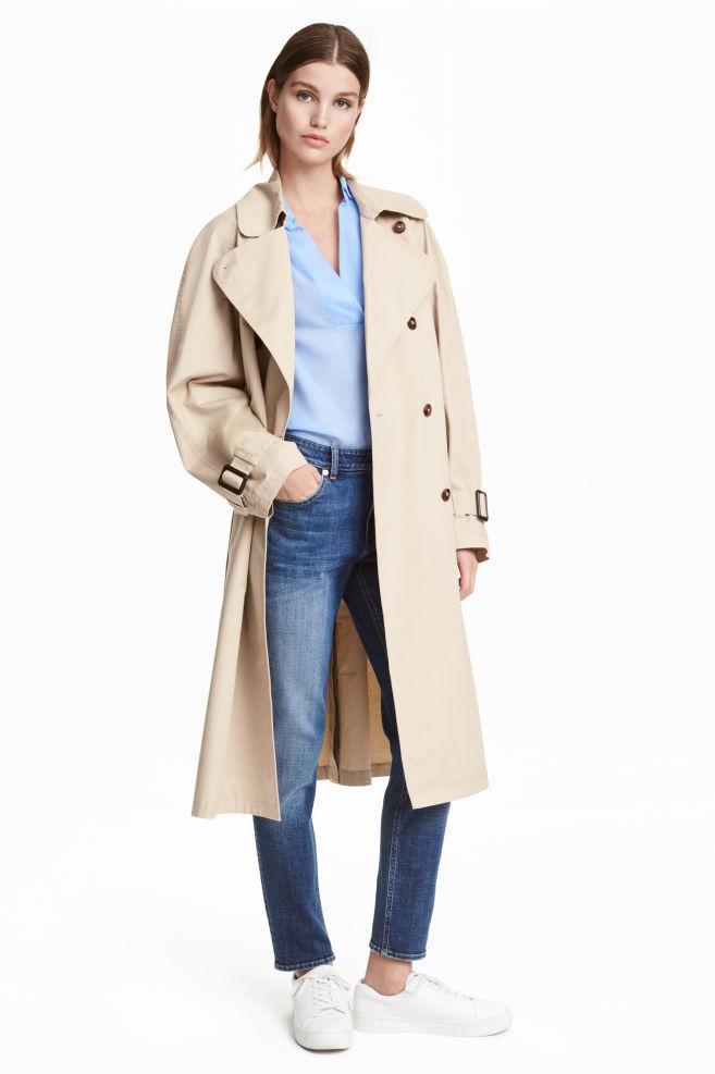 f9e8a6ad02 Cotton trenchcoat - Light beige - Ladies | H&M ...