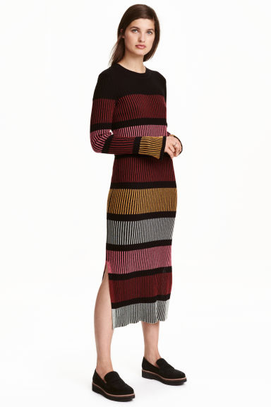 Ribbed dress - Black/Striped - Ladies | H&M GB