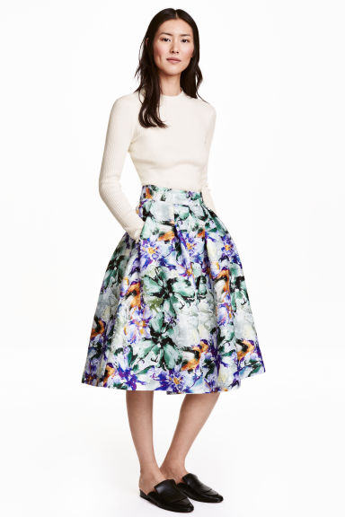 Bell-shaped skirt - White/Floral -  | H&M GB