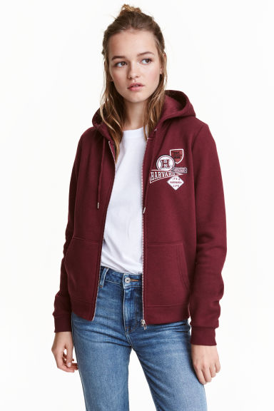 Hooded jacket - Burgundy/Harvard - Ladies | H&M GB