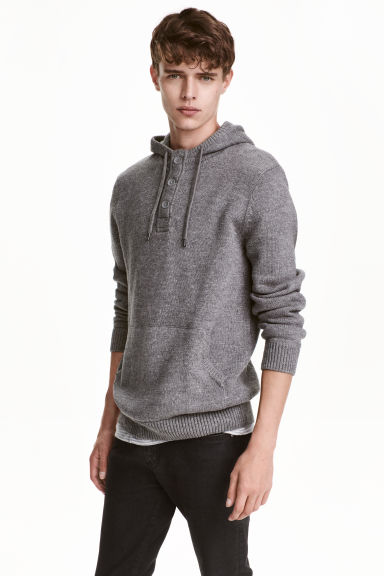 Knitted hooded jumper - Dark grey marl - Men | H&M CN