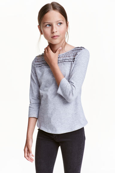 Jersey top with lace - Grey marl - Kids | H&M CN