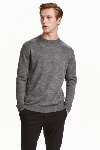 Merino wool jumper - Dark grey marl -  | H&M CN