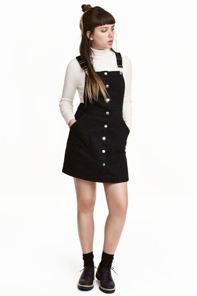 dbddd0662 Denim dungaree dress - Black - | H&M ...