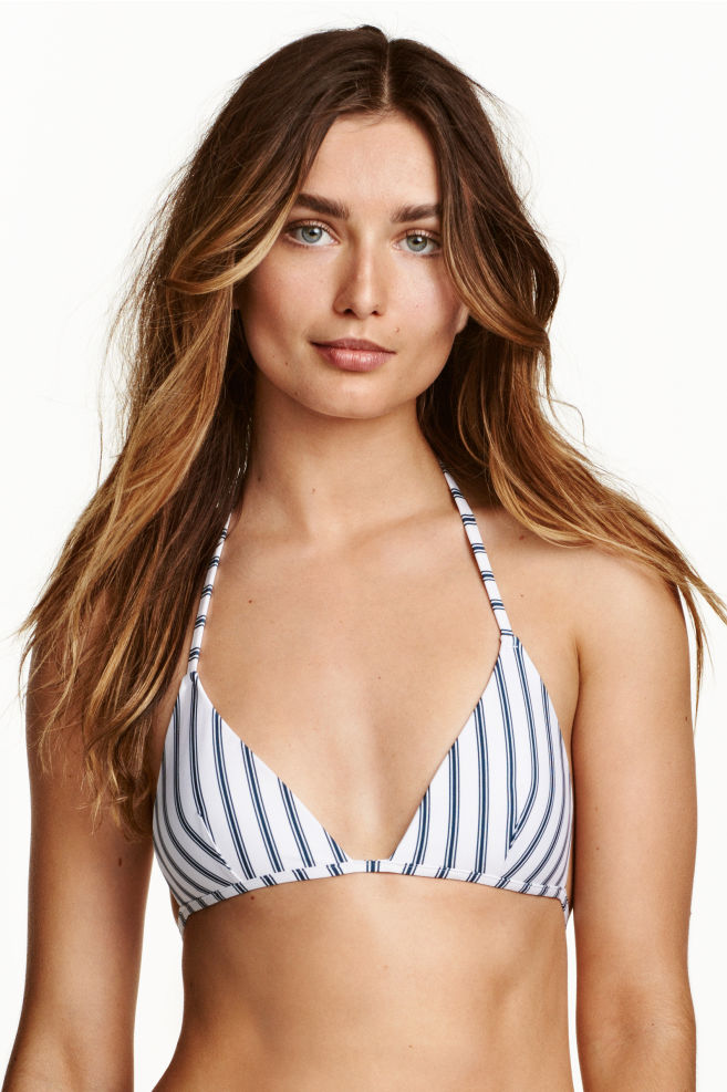 9387d71fbc Triangle bikini top - White/Dark blue/Striped - Ladies | H&M ...