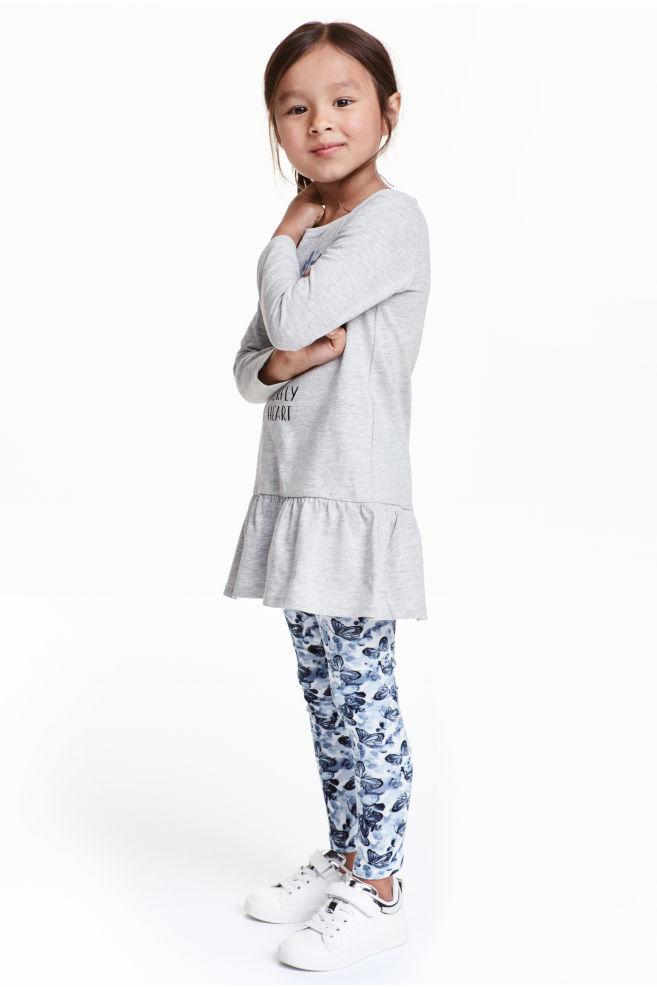 e5f46c742d3c1 Jersey dress and leggings - Grey/Butterflies - Kids | H&M ...
