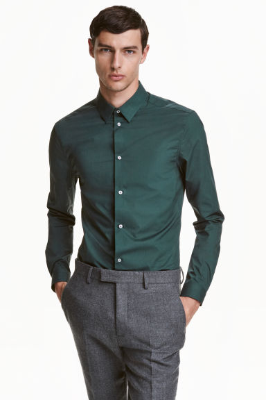 Premium cotton shirt - Dark green - Men | H&M CN