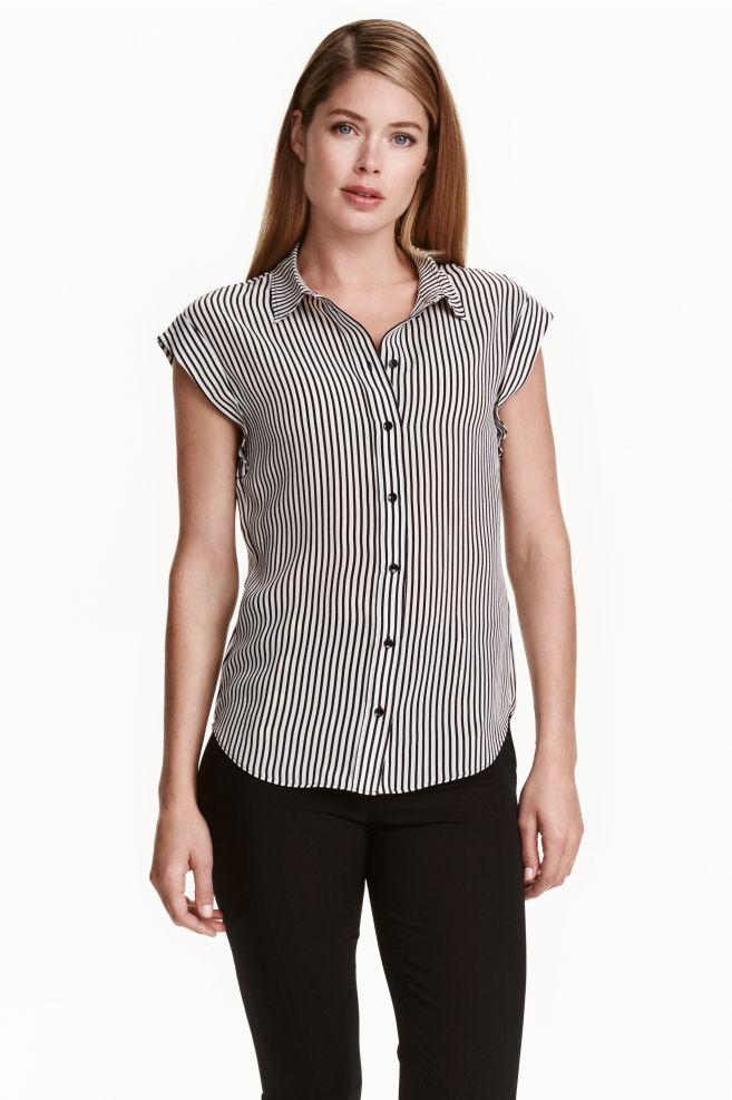d1c35c1dd8 Blusa de seda - Negro Rayas blancas - MUJER