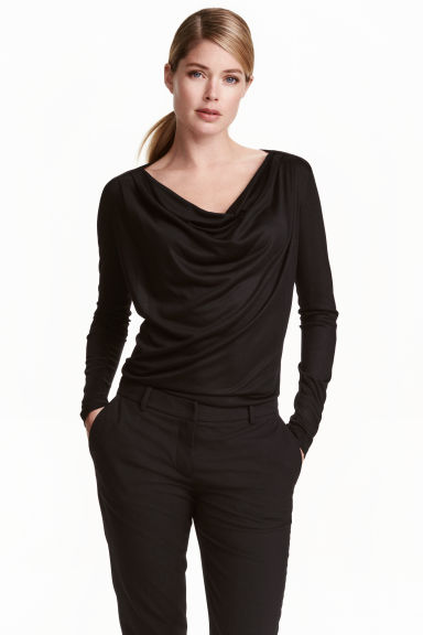 Top in jersey drappeggiato - Nero -  | H&M IT