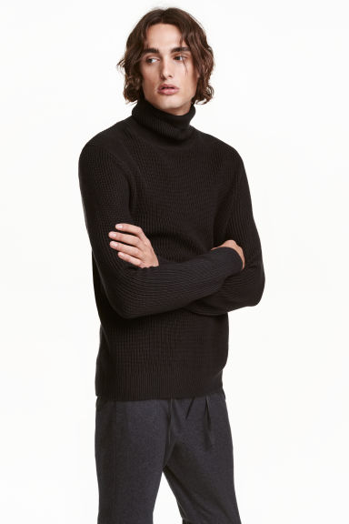 Knitted polo-neck jumper - Black - Men | H&M GB