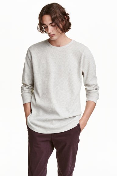 Waffled long-sleeved T-shirt - Light grey marl - Men | H&M CN