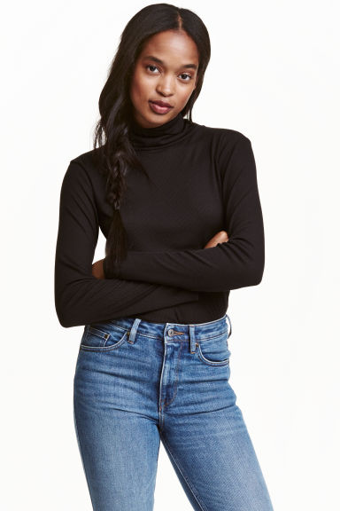Ribbed polo-neck top - Black -  | H&M CA