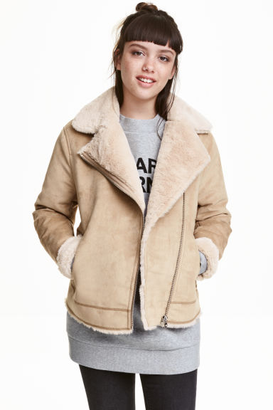 Faux fur-lined biker jacket - Beige - Ladies | H&M GB