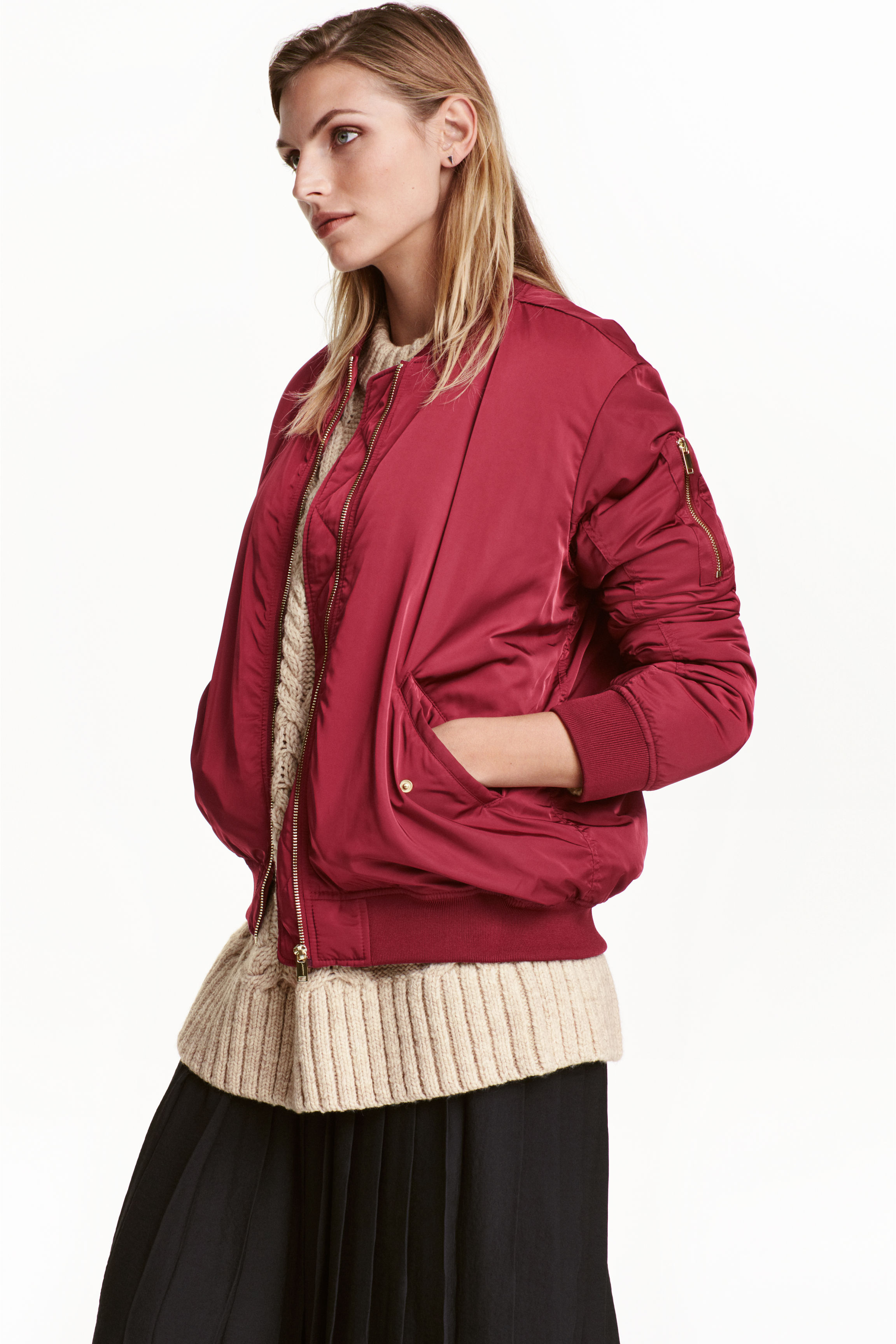 Oversized bomber jacket - Beige - Ladies  c567a1fb741