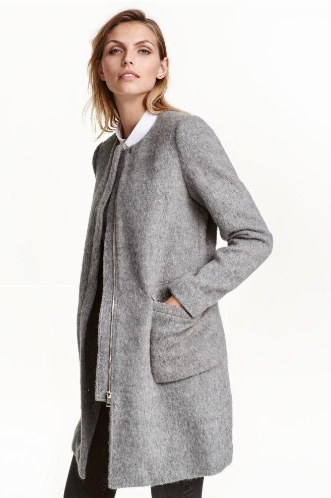 Manteau en laine mélangée - Gris chiné - FEMME   H M ... 3264357918a