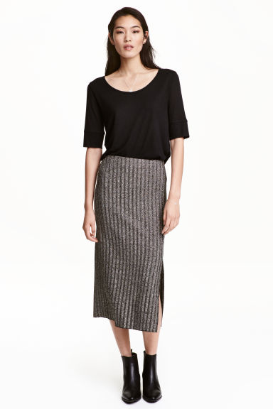 Ribbed skirt - Dark grey/Glittery - Ladies | H&M GB