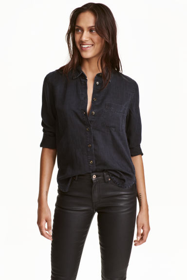 Lyocell denim shirt - Black - Ladies | H&M CN