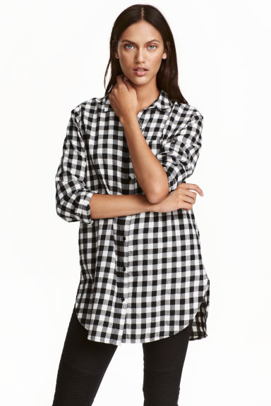 Long flannel shirt - Black/White/Checked - Ladies | H&M GB