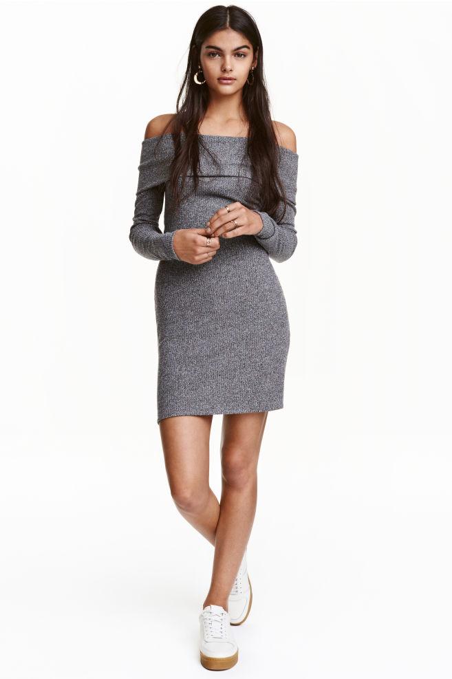05cb39d650ac Off-the-shoulder dress - Grey marl - Ladies