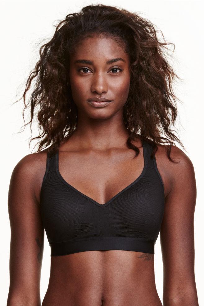 d3dab462cb491f Biustonosz sportowy push-up - Czarny - ONA | H&M ...