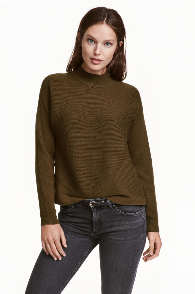 59198aa4a068ad Ribbed turtleneck jumper - Dark Khaki - Ladies | H&M ...