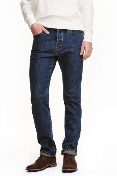 Straight Regular Jeans - 深牛仔蓝 - Men | H&M CN