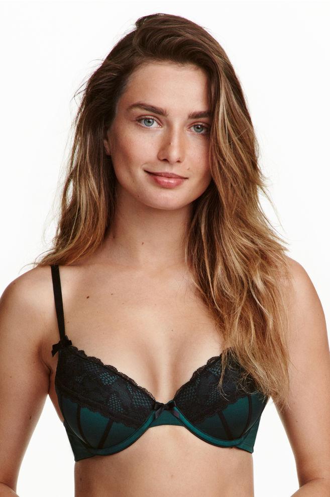 c6921dc4b8bd7f Microfibre push-up bra - Emerald green - Ladies   H&M ...